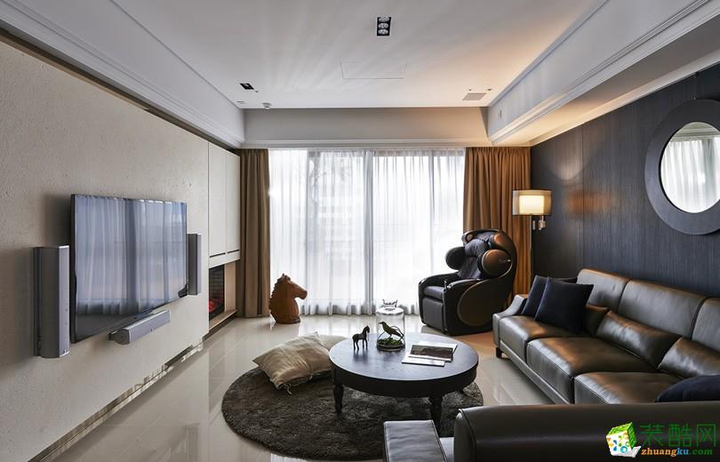 现代简约风格90平米三室两厅装修实景案例图|隆庭装饰