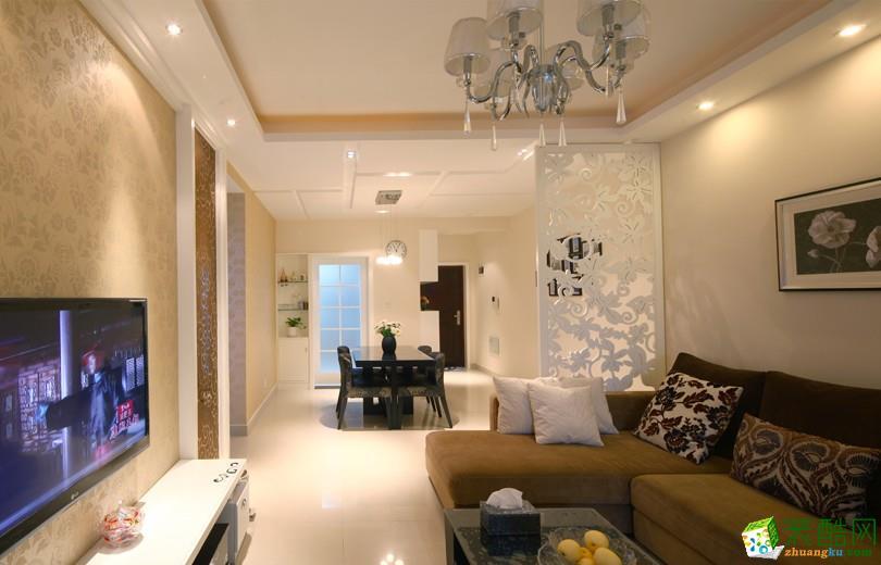 现代简约风格91平米两居室装修实景案例图|隆庭装饰
