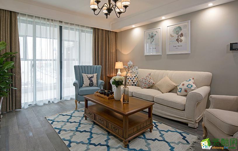 70平米美式风格三室一厅装修实景案例图|大筑装饰