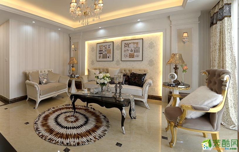 欧式风格96平米三室两厅装修实景案例图|德雕装饰