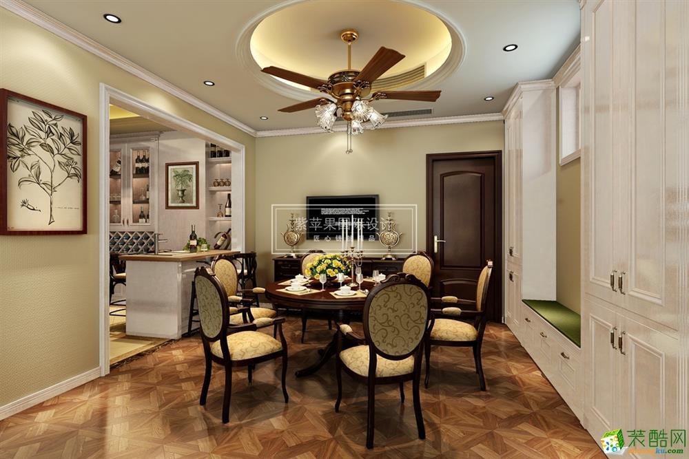 160平米美式风格四室两厅装修实景案例图赏析|紫苹果设计
