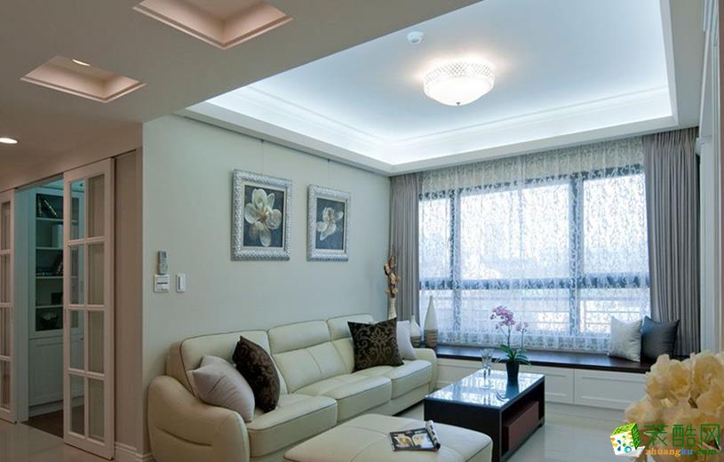 现代简约风格91平米三室两厅装修实景案例图|华馨装饰