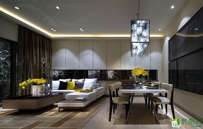 现代简约风格147平米三室两厅装修实景案例图|华馨装饰