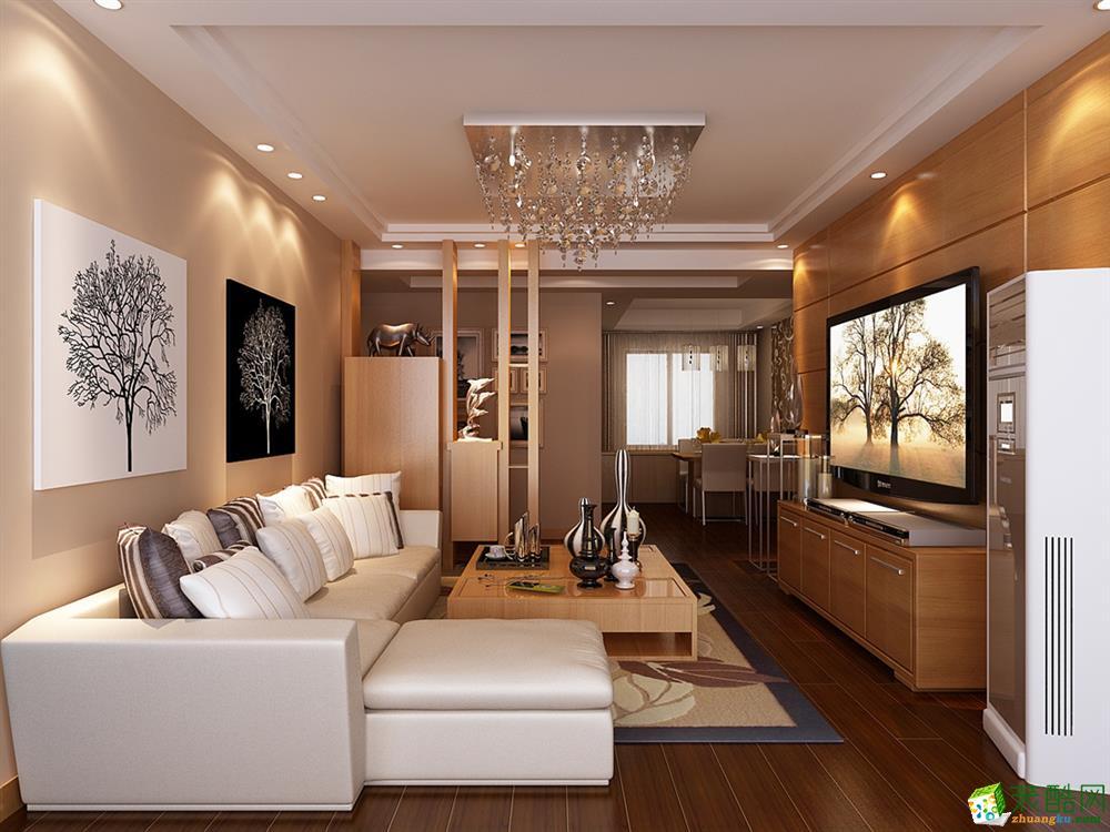 现代简约风格118平米三室两厅装修实景案例图|精饰界装饰