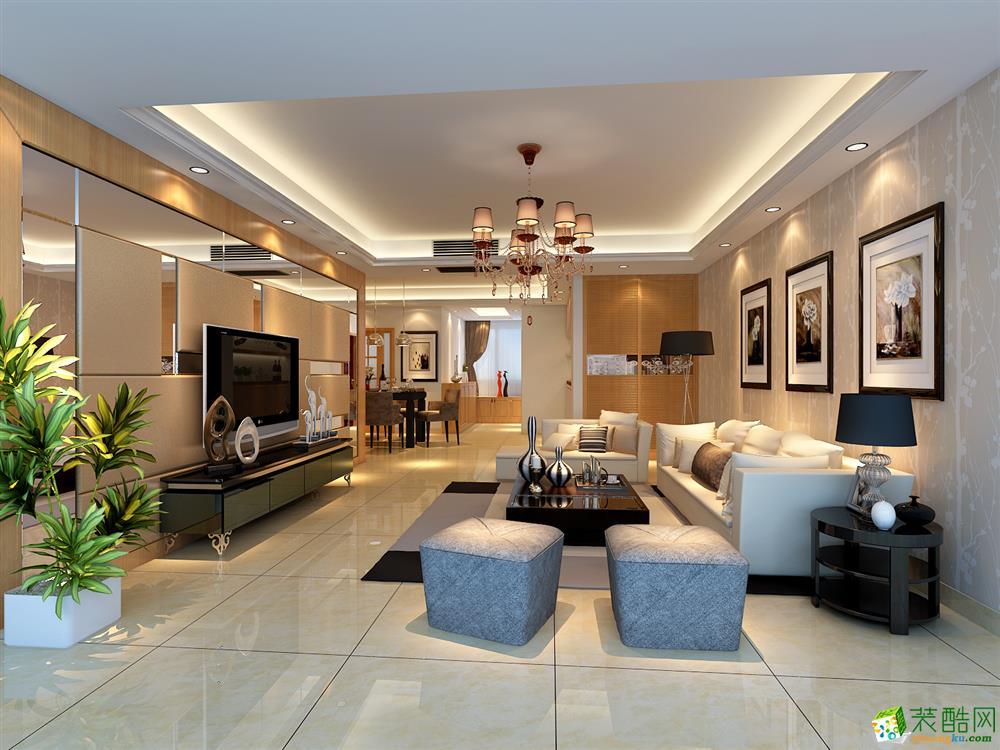 现代简约风格111平米三室两厅装修实景案例图|精饰界装饰