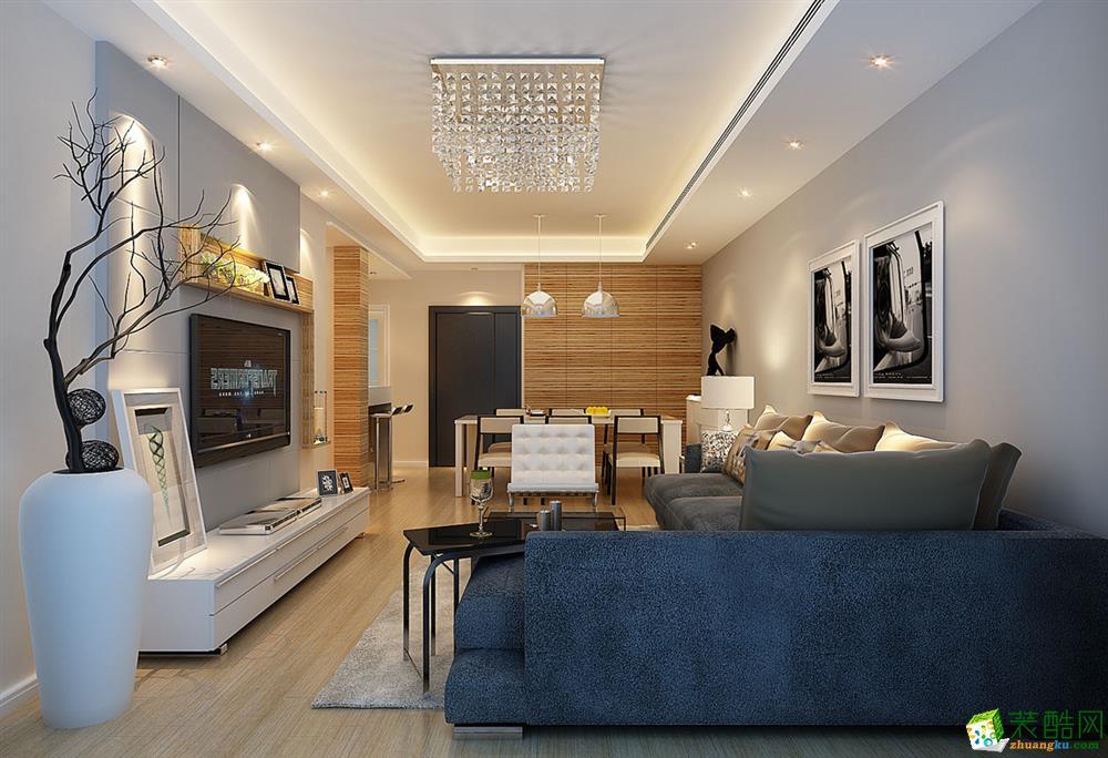121平米现代简约风格三室两厅装修实景案例图|精饰界装饰