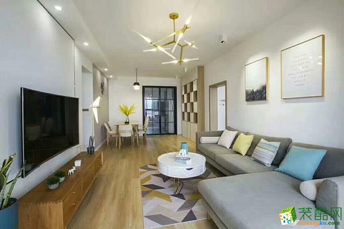 98平米北欧风格三室两厅装修实景案例图|岚庭装饰