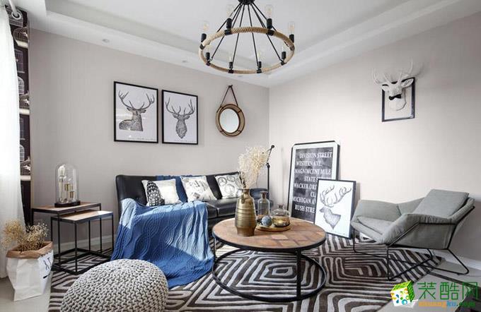 简欧风格93平米三室两厅装修实景案例图|岚庭装饰