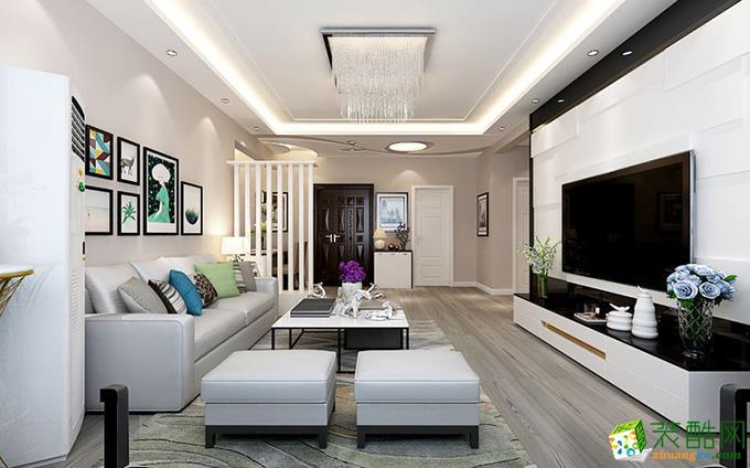120平米现代简约风格三室两厅装修实景案例图|一号家居装饰