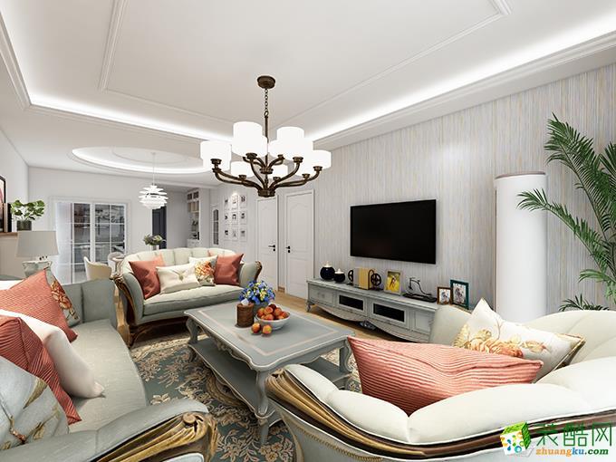 简欧风格112平米三室两厅装修实景案例图|幸福魔方装饰