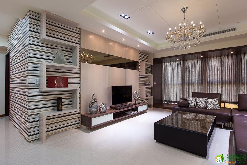 現代簡約風格89平米兩室兩廳裝修實景案例圖|鐘誠裝飾