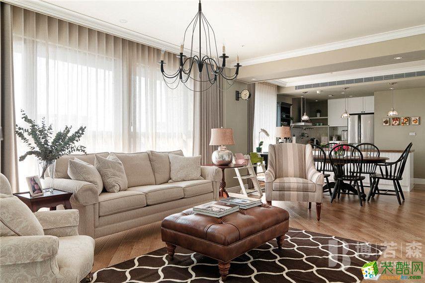 美式乡村风格99平米三室两厅装修实景案例图|博若森装饰