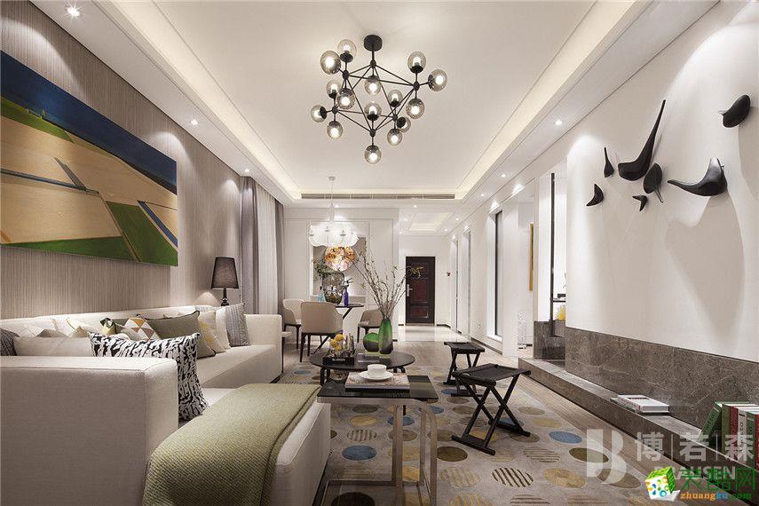 欧式风格96平米三室两厅装修实景案例图|博若森装饰