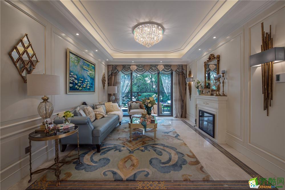 美式风格120平米三室两厅装修实景案例图|隆园装饰
