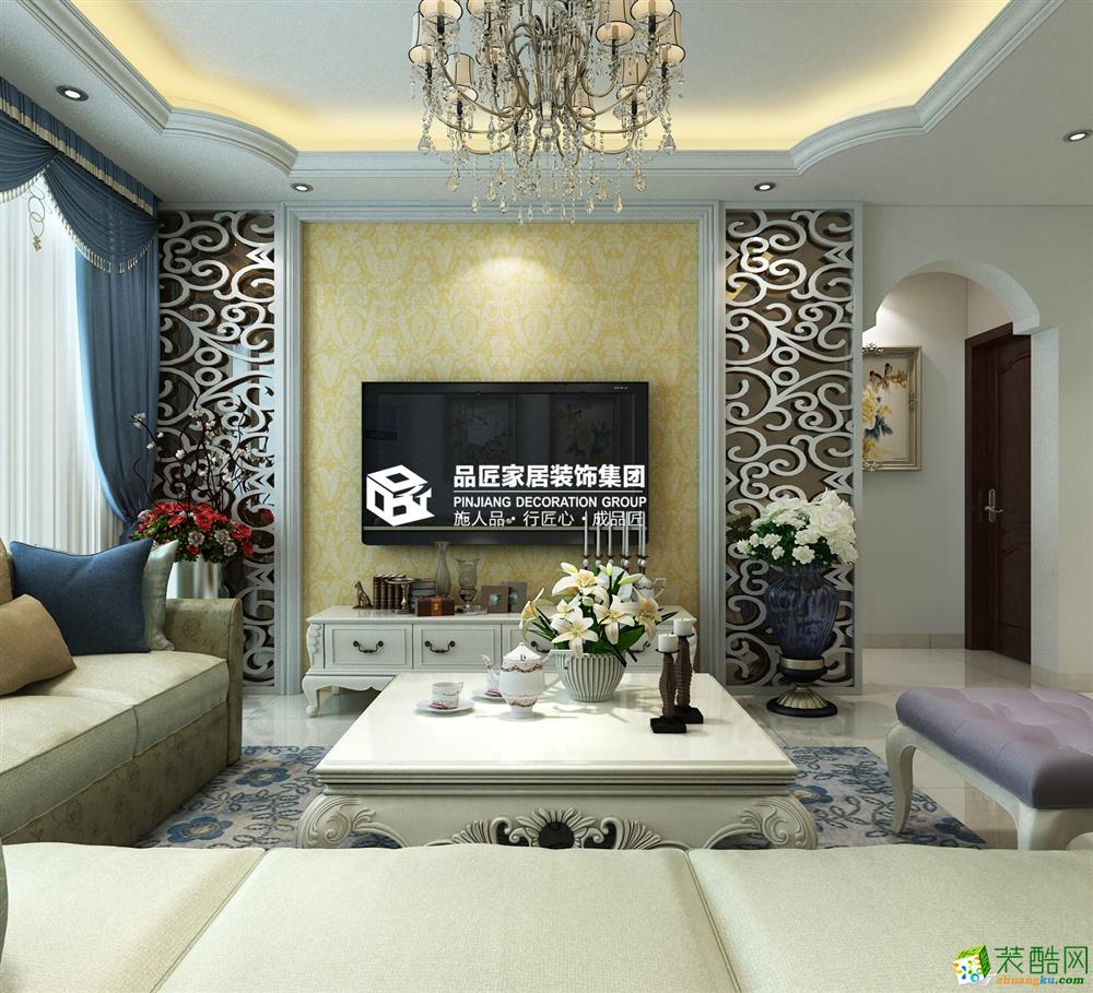 桂林品匠装饰―顺祥南洲1号122方简欧风格三居室装修效果图