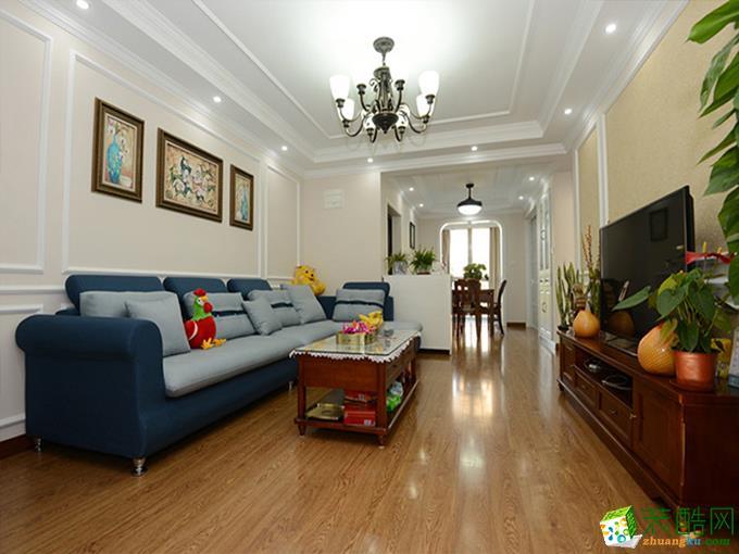 现代简约风格98平米三室一厅装修实景案例|一号家居