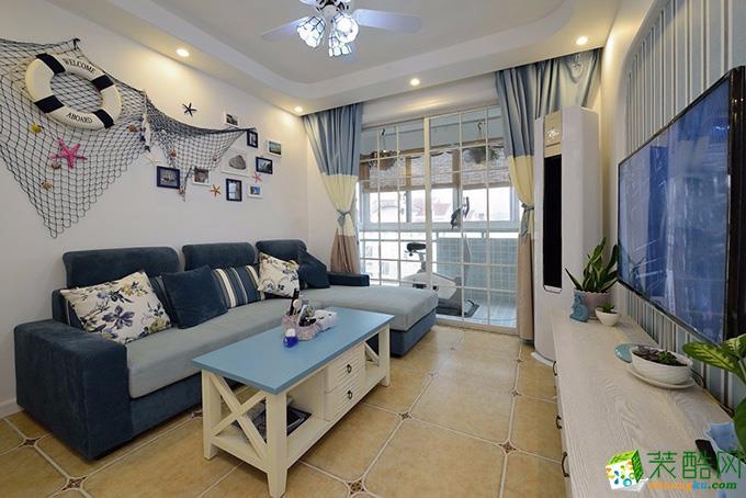 地中海风格73平米两室两厅装修实景案例图|龙兴装饰