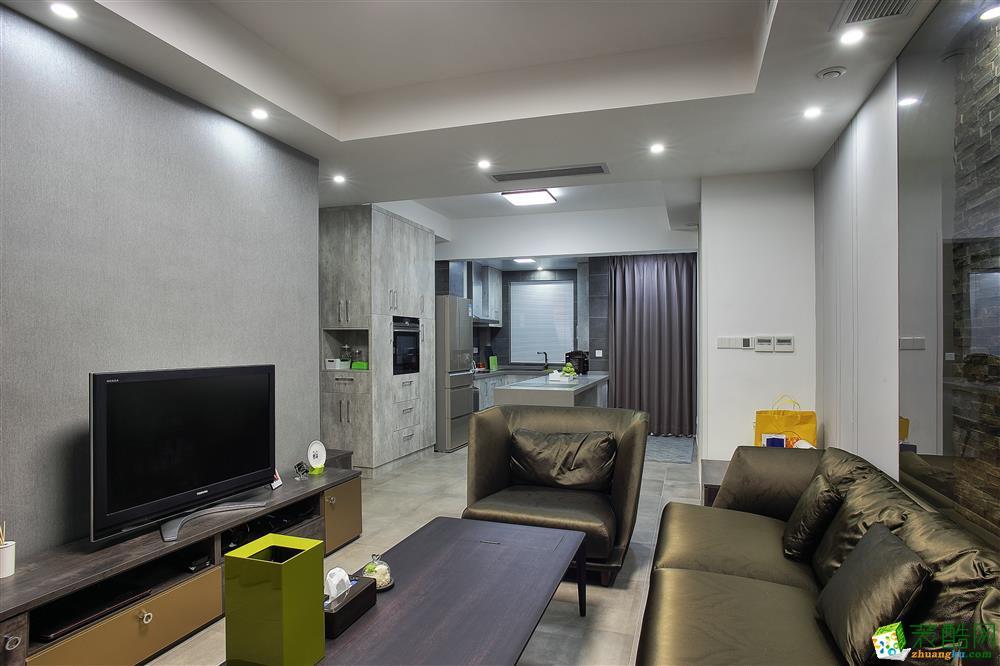 现代简约风格89平米两室两厅装修案例---一号家居网