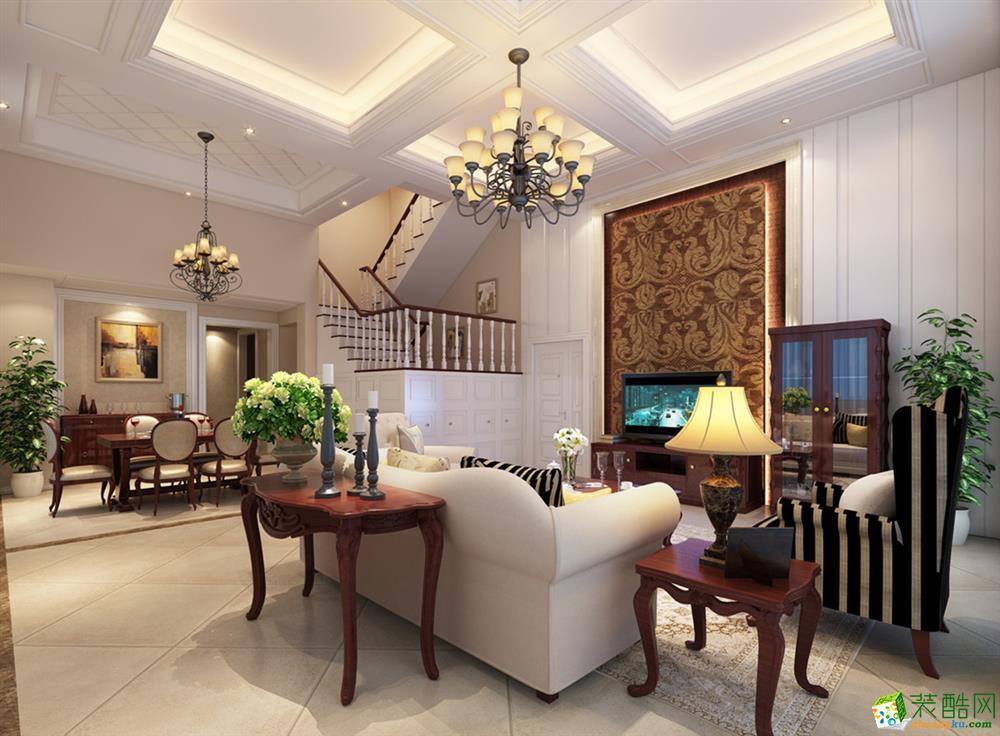 跃层住宅欧式风格206平米装修实景案例---谛莲装饰