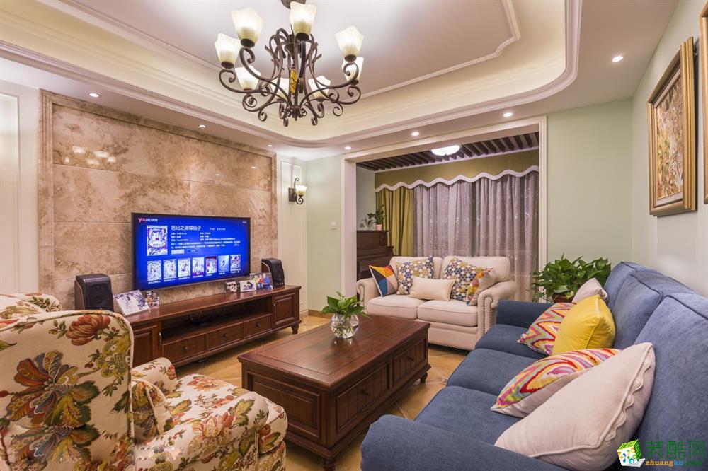 融创剑桥郡120平米中式风格三室两厅装修实景案例图---佳天下装饰