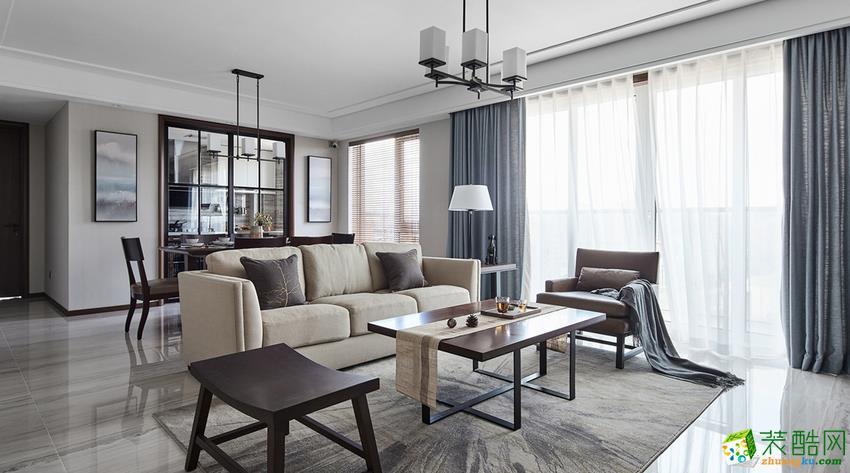 鲁能领秀城135平米中式风格四室两厅装修实景案例图---乐尚装饰