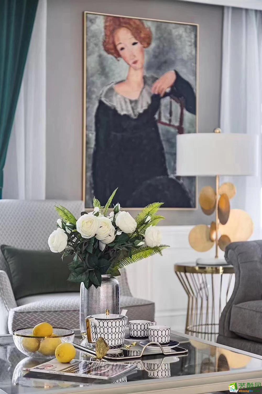 豪迪装饰―招商江湾国际108平现代美式风格装修效果图