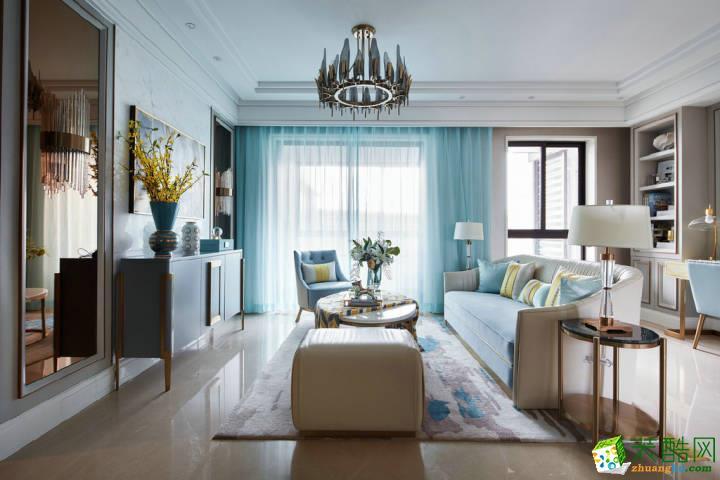 招商花园城102平米古典风格三室两厅装修案例图---佳天下装饰