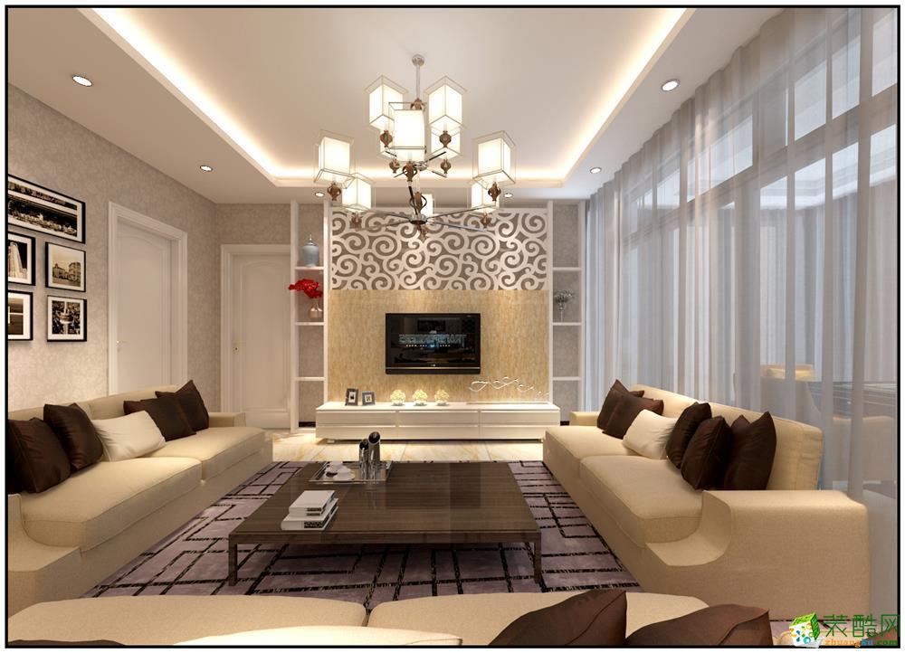 现代简约风格119平米三室两厅装修实景案例图--精饰界装饰
