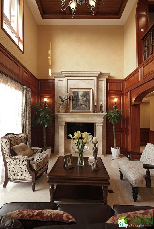 旭辉朗香郡260平米美式风格别墅住宅装修实景案例--佳天下装饰