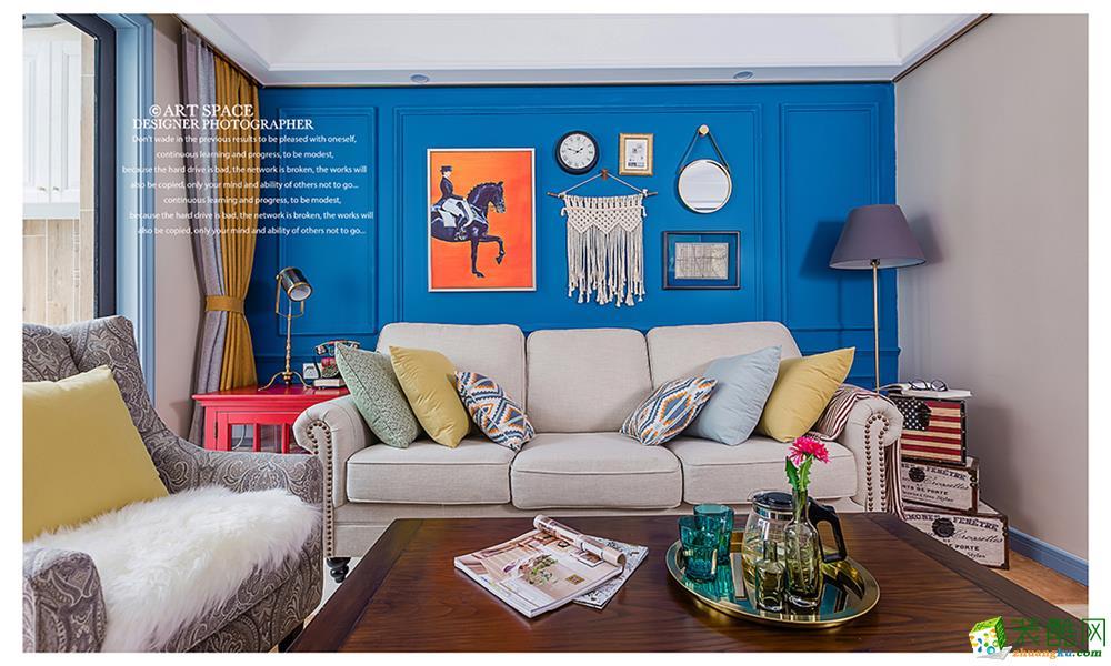 都都装饰―龙湖名景台89方美式风格两室两厅装修效果图