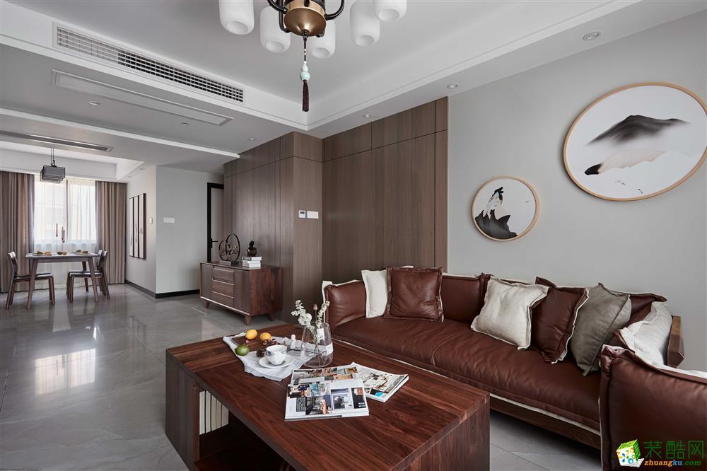 客厅  【恒彩装饰】都景公寓130�O新中式风格,让心灵做个有氧呼吸