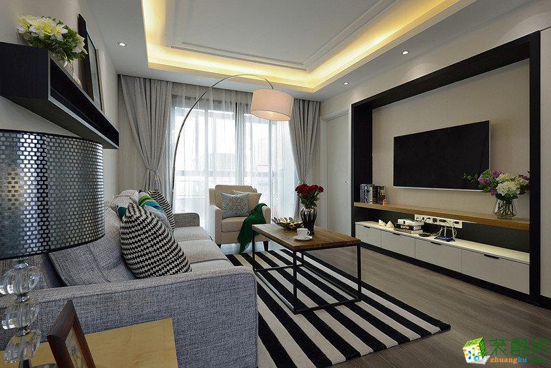 现代简约风格125平米三室两厅装修实景案例---龙发装潢