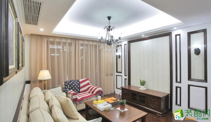 客厅  松原福康装饰-美式三室装修效果图