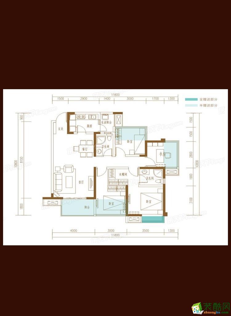 >> 百悦城plus118平米北欧风格三居室装修实景案例图---众意装饰
