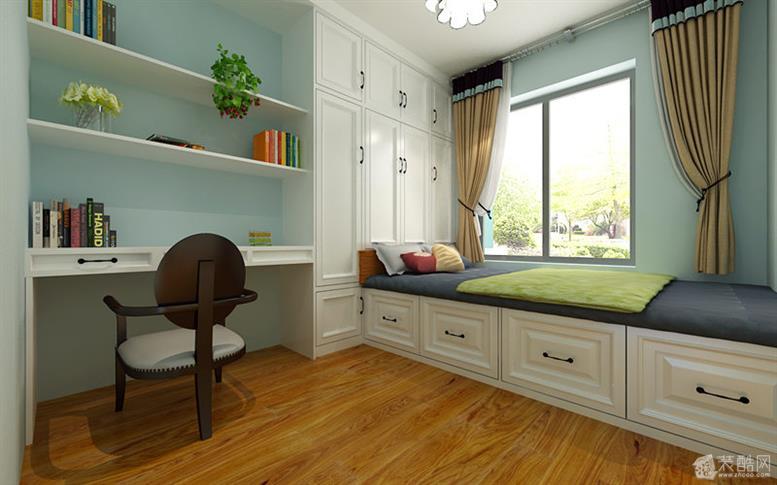 榻榻米室主要采用了榻榻米与书柜衣柜一体的模式,这样能够更加合理,用图片