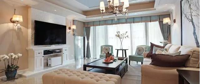 蓝色 130平三室两厅中式+美式风格混搭装修实景图——客餐厅-三室