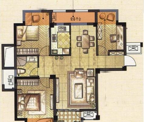 三房两厅装修多少钱?25万精装90平三房两厅混搭风