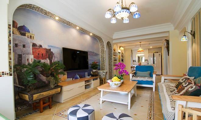 斜拼的仿古地砖,原木色的沙发增加了空间休闲氛围。蓝色代表海洋,白色代表天空,海天相接,缔造出了唯美的视觉感受。阳台上的榻榻米,不仅增加居家的收纳功能,也变成可以会客,也是休闲的好去处。