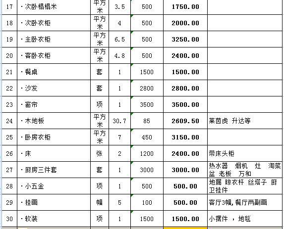 78平全包装修预算清单(含详细主材)