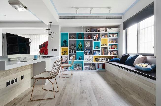 67客厅书房一体装修设计怎么做?开放式书房装修要点