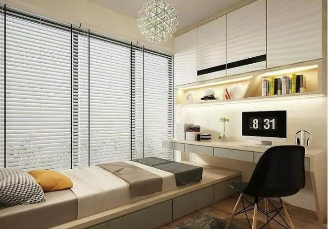 榻榻米床 衣柜 书架的设计当卧室,也可以当书房和茶室,让空间得到了