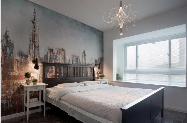 主卧室,没有设计衣柜,但是预留了衣架的空间,对于衣物的收纳觉得用
