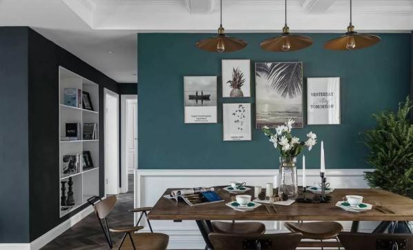 135平复古绿混搭装修,20万精装两居室实景图-装酷网